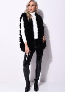 Faux Fur Stripe Gilet Jacket Black
