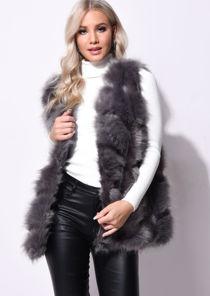 Faux Fur Stripe Gilet Jacket Dark Grey