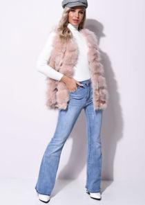 Faux Fur Stripe Gilet Jacket Pink