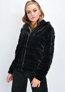 Faux Fur Striped Crop Hooded Coat Black