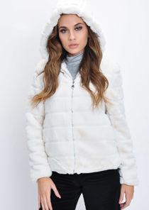 Faux Fur Striped Crop Hooded Coat Cream White