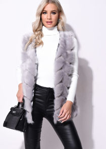 Faux Fur With Inserted Knit Panels Gilet Grey
