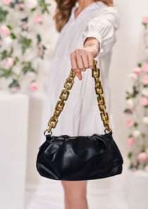 Faux Leather Chunky Shoulder Strap Chained Clutch Bag Black