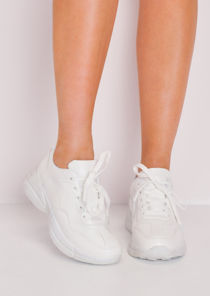 Faux Leather Chunky Trainers White