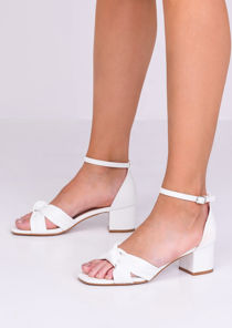 Faux Leather Knot Front Heeled Sandals White