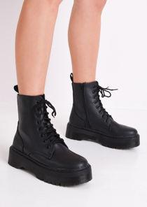 Faux Leather Lace Up Platform Combat Ankle Boots Black