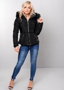 Faux Leather Panel Padded Puffer Jacket Coat Black