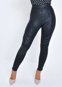 Faux Leather Panels Textured Legging Trousers Black