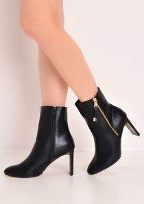 Faux Leather Perspex Slim Heel Ankle Boots Black