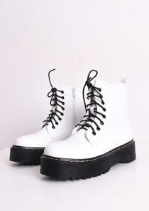 Faux Leather Platform Combat Ankle Boots White