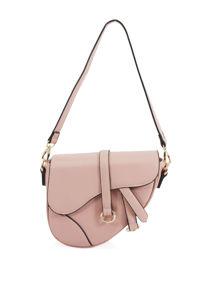Faux Leather Saddle Shoulder Bag Pink