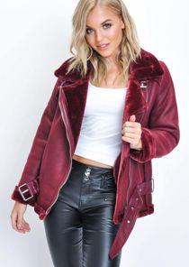 Faux Leather Shearling Oversized Aviator Biker Jacket Wine Red