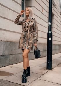 Double Breasted Faux Leather Snake Skin Print Trench Coat Beige