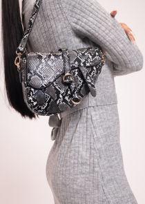 Faux Leather Snakeskin Print Saddle Shoulder Bag Black