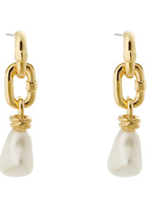 Faux Pearl Alloy Chained Earrings Gold