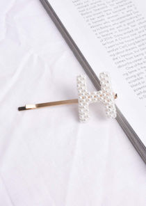 Faux Pearl Alphabet Letter Hair Slide Gold