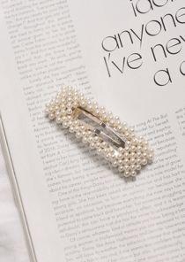Faux Pearl Rectangle Hair Clip Silver