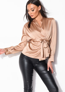 Faux Satin Belted Long Sleeve Shirt Beige