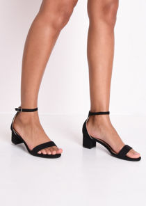 Faux Suede Block Heeled Sandals Black
