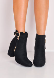 Faux Suede Buckle Block Heel Ankle Boots Black