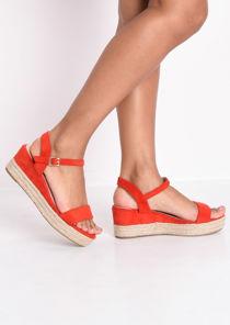 Faux Suede Platform Braided Cork Wedge Espadrille Sandals Red