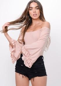 Flare Sleeve Bardot Bodysuit Pink