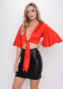 Flare Sleeve Tie Front Crop Top Red
