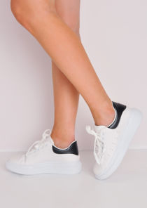 Flatform Faux Leather Chunky Trainers White