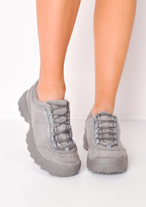 Flatform Faux Suede Chunky Trainers Grey