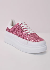 Flatform Glitter Lace Up Faux Leather Chunky Trainers Pink