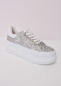 Flatform Glitter Lace Up Faux Leather Chunky Trainers Silver