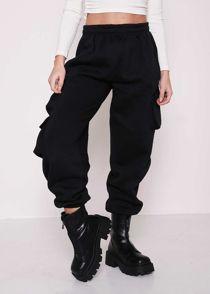 High Waisted Fleeced Utility Cargo Jogger Pants Black