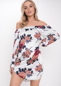 Floral Bardot Dress White