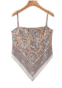 Floral Batik Bandana Style Strap Crop Top Beige