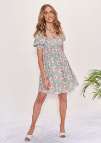Floral Frilled Shirred Top Puff Sleeved Mini Dress Green