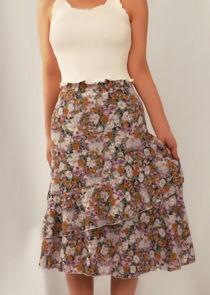 Floral High Waisted Asymmetric Frill Midi Skirt Purple