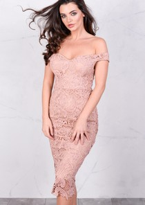 Floral Patterned Lace Fitted Bodycon Midi Dress PinkNude