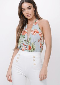 Floral Plunge Halterneck Bodysuit Light Blue