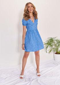 Floral V Neckline Button Down Back Shirred Mini Dress Blue