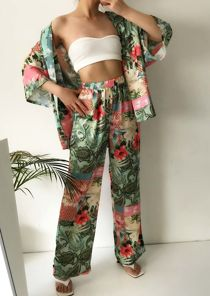 Floral Print Belted Kimono Top And Wide Leg Pants Co Ord Set Green
