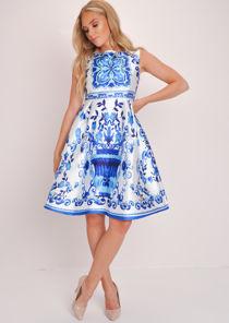 Floral PrintProm Skater Dress White