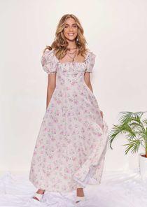 Floral Print Ruched Cupped Frilled Front Side Split Midi Dress Beige