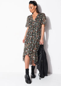 Floral Print Ruffle Hem Wrap Front Midi Dress Multi