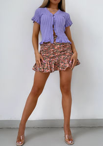 Floral Ruched Fishtail Frill Mini Skirt Pink