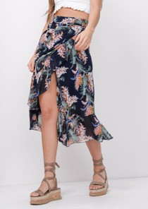 Tropical Print Ruffle Wrap Over Midi Skirt Navy Blue
