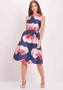 Floral Skater Prom Dress Blue
