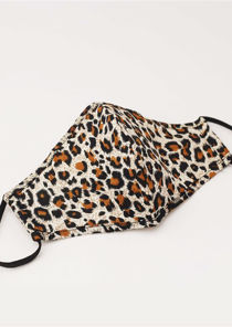 Leopard Stretch Lace String Mask Brown