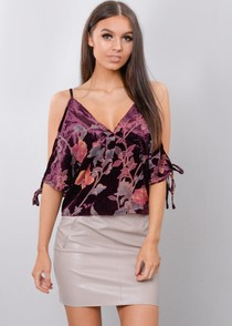 Floral Velvet Cold Shoulder Top Purple