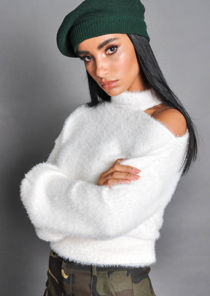 Fluffy Cut Out Neck Knit Jumper Cream White