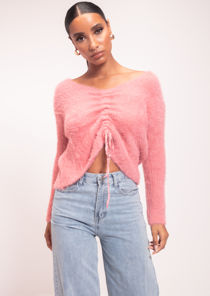 Fluffy Knit Drawstring Jumper Top Pink